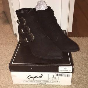 Quipid black buckle booties Size 8